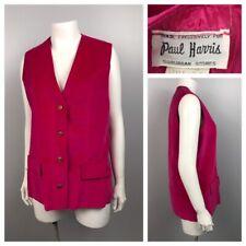 New listing 1960s Pink Vest Blouse Top / Fuchsia Velvet Button Up Sleeveless Shirt / Medium