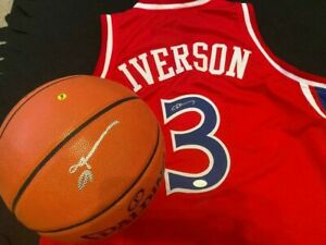 """ALLEN IVERSON AUTOGRAPHED 76ERS JERSEY & NBA SPALDING BASKETBALL &""""MUST SEE"""""""