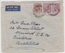 Stamps PERAK Malaya various on plain cover sent airmail 1938 to Ormond Australia