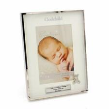 Personalised Silver Plated Godchild Photo Frame Gift With Teddy Icon CG1396-P
