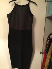 River Island Black Evening Pencil Style Dress With Leather Look Top Size 18