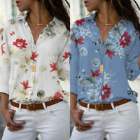 Women Floral V Neck Long Sleeve Blouse T Shirt Plus Size Casual Holiday Tee Tops