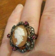 LARGER Shell CAMEO rose cut diamonds ruby rubies Gold RING art nouveau estate