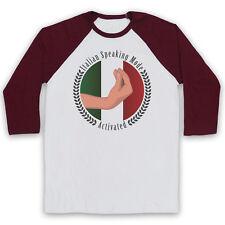 ITALIAN SPEAKING MODE MEME FUNNY COMEDY SLOGAN HAND UNISEX 3/4 BASEBALL TEE