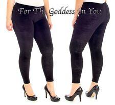 P18 BLACK WARM COMFY DRESSY VELVETY VELOUR LEGGINGS WOMENS L
