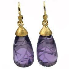 De Buman 31.29ctw Genuine Amethyst & Diamond Solid 18K Yellow Gold Earrings