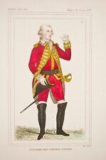 Uniforme époque Louis XVI,cheveau-légers, militaria, gravure XIX° uniformologie