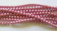 40 Czech Glass Pearl Beads - 6mm - Mauve