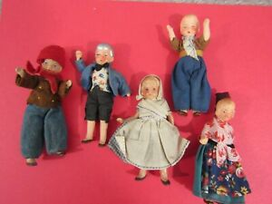 """6 Antique 1930's HERTWIG ? Miniature 4"""" German Jointed Doll House Dolls"""
