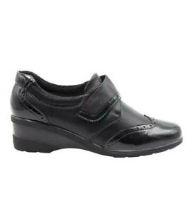 Ladies Black Patent Smart Strap Up Nurse Office Work Wedge Shoes UK 3-8 YG962