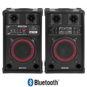"""Bluetooth Bedroom DJ Powered Disco Party Speakers 8"""" Woofer USB SD 400W"""