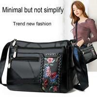 Women Floral Printed Shoulder Bags Multi Pocket Leather Crossbody Handbags