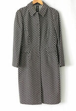 Tahari Duster/Coat Cotton Blend Brown/White Size M