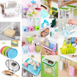 Kitchen Sink Sponge Holder Bathroom Hanging Strainer Organizer Storage Rack