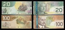Bank of Canada Radar Lot of 2 - $20 & $100 Banknotes