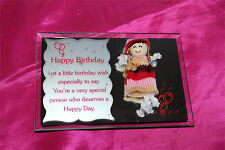 The Mayflower Glass Collection Happy Birthday Mirror Picture Frame with Rag Doll