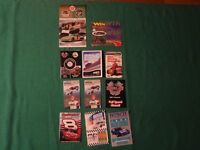LOT OF 12 STOCK CAR RACING SCHEDULES + 42 HALVOLINE DECAL AND FAN SCAN AUDIO