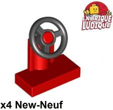 Lego - 4x vehicle voiture Steering Stand 1x2 volant rouge/red 3829c01 NEUF
