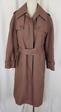 Womens Misty Harbor Belted Buckle Long Trench Coat 12P Cape Top 1980's Brown Spy