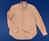 Caliban shirt camicia uomo usato slim XL 17 44 manica lunga a righe luxury T5940