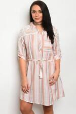 NEW..Stylish Plus Size Pink Stripe Shirt Style Dress with Lace Detail..Sz18/2XL
