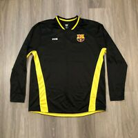 FC Barcelona Mens XL Black Long Sleeve Jersey Shirt Sewn Logo Patch Polyester