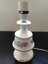 Vintage Mid Century White Ceramic Table Lamp Victorian Floral Gilded Ornate