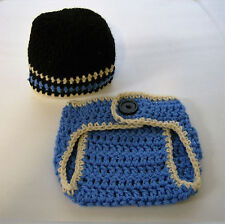 Newborn Baby--Blue/Black--Beanie/Hat and Diaper Cover Set--Hand Crochet--OOAK