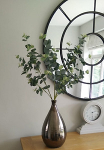Artificial Silk Faux Greenery - 3 X Green Long Stem Eucalyptus Stems Leaves