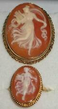 Vintage 14K GOLD Dancing Muse with Harp Cameo PIN / PENDANT & RING size 8 1/4