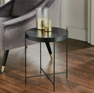 ROUND BLACK MARBLE METAL SIDE END LAMP COFFEE TABLE