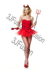 Adult Womens Ladies Sexy Devil Tutu Fancy Dress Costume Halloween Horror (EQ)