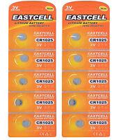 10 x CR1025  3V Lithium Knopfzelle 30 mAh (2 Blistercard a 5 Batterien) EASTCELL