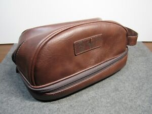 Brown Faux Leather Penguin Shaving/Toiletry/Travel Kit Bag