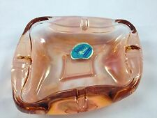 Mid Century Modern Pink Glass Ashtray Beautiful Abstract Swedish Retro Vintage
