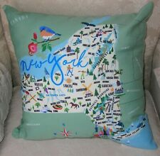 "GALLEYWARE New York State Indoor/Outdoor 18"" Throw Pillow - NEW - Whimsical!"