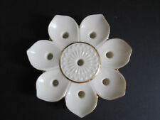 Lenox 8 Tiny Taper Candle Holder Flower Petal Shaped Porcelain Gold Accents USA