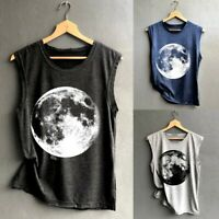 Women Moon Printed Vest Casual Loose Sleeveless Tank Sport Pullover Tunic Tops