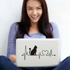 Cat With Cartoon Electrocardiogram Notebook Decals Laptop Lovely Animal Sticker