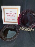 "Avon Cape Cod 1876 Ruby Red Glass, 2 Dessert Plates 7 1/2"", NEW in Original Box"