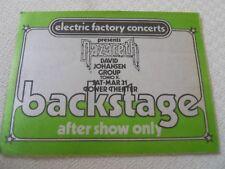 Nazareth/David Johansen Group - satin backstage pass after show -Tower Theater