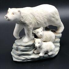 POLAR BEAR FIGURINE vintage porcelain statue sculpture mom cubs ice rocks arctic