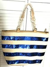 IMAN Large Tote Striped Canvas Shoulder Bag