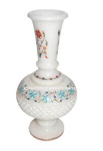 Marble Flower Pot Turquoise Carnelian Malachite Inlay Arts Christmas Gift H1366