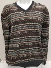 Joseph & Lyman Men's Sweater Large V-Neck Lambs Wool Blend Geometric Print