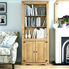 CORONA Tall 2 Door Display Unit in Distressed Wax Pine - Next Day Delivery