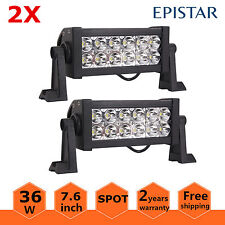 2X 8inch 36W LED Work Light Bar Spot Offroad 4WD Boat ATV SUV Driving Lamp 12V24