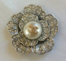 "VINTAGE CHANEL SILVER CRYSTAL FLOWER BUTTONS  SIZE 1,5"" RARE"