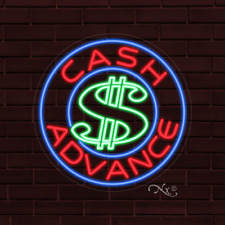 "Brand New ""Cash Advance"" w/Logo 26x26x1 Inch Led Flex Indoor Sign 31312"