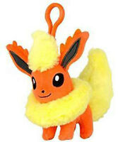 Pokemon 3'' Flareon Eevolution Plush Bag Clip Key Chain NEW